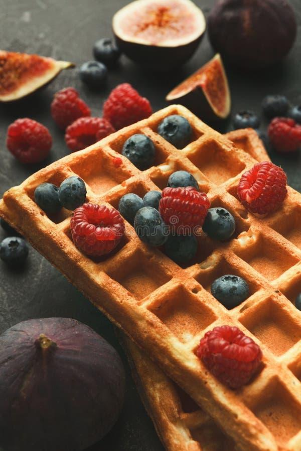 比利时奶蛋烘饼用莓果和无花果 库存图片