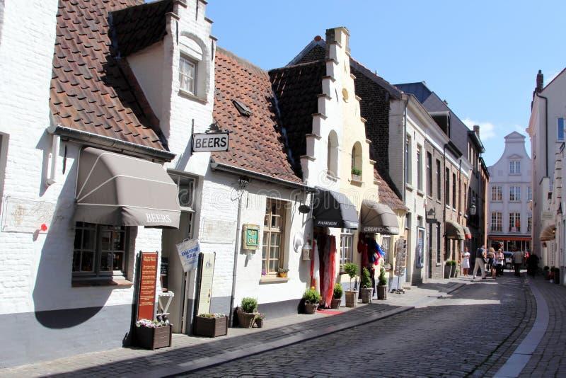 比利时布鲁基大厦门开花老红色城镇视窗 免版税库存图片