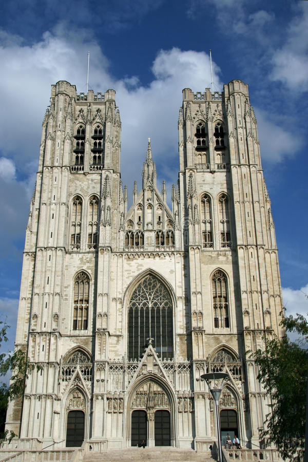 比利时布鲁塞尔大教堂gudula迈克尔st 免版税库存照片