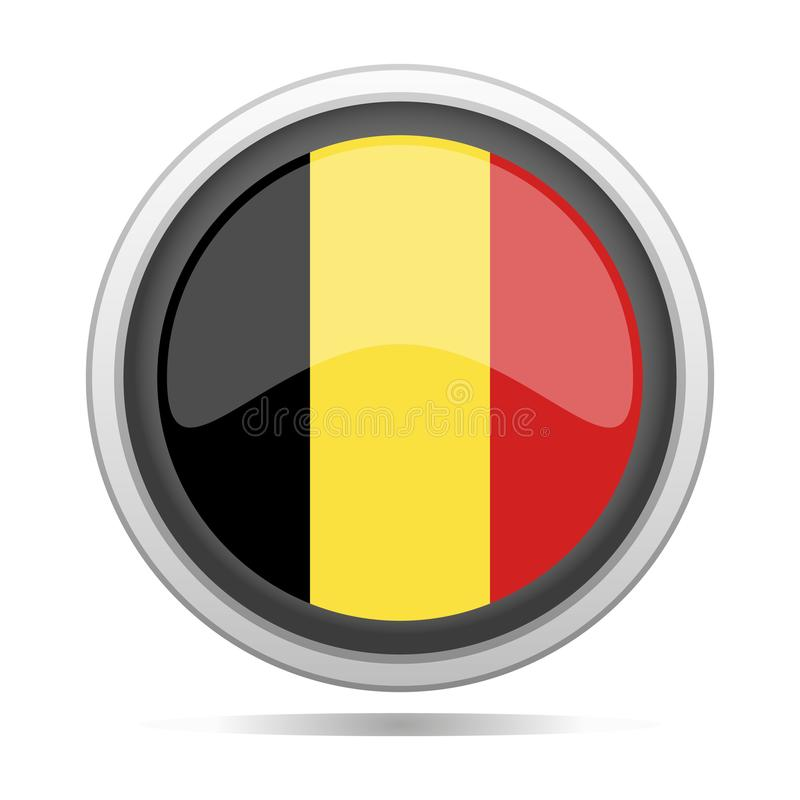 比利时旗子圆的金属标志设计城市传染媒介艺术 皇族释放例证
