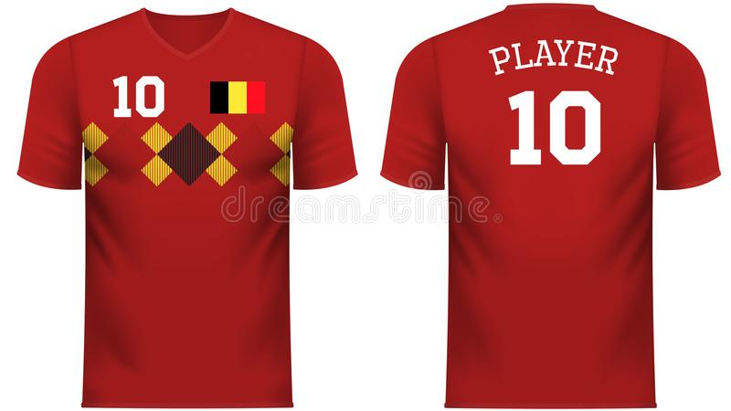 比利时爱好者炫耀在普通国家颜色的T恤杉 皇族释放例证