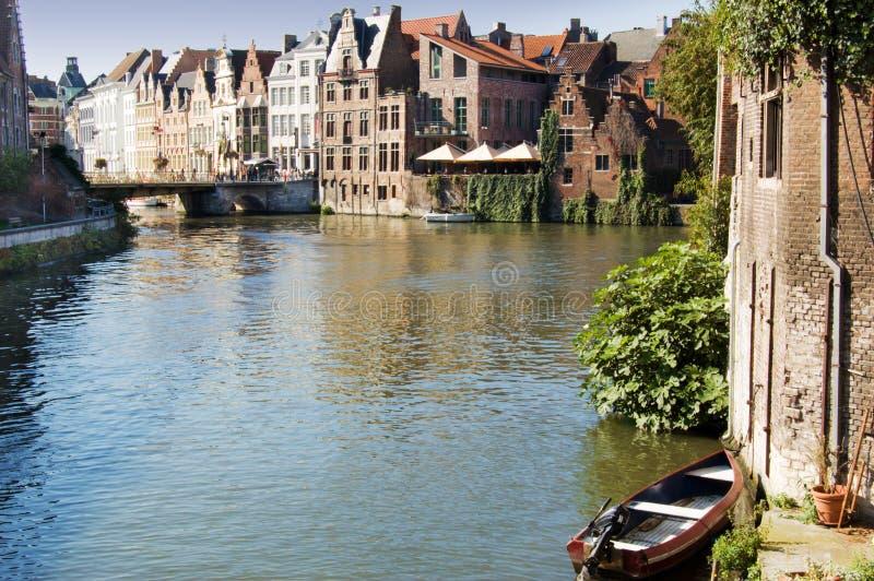 比利时运河跟特 免版税库存图片