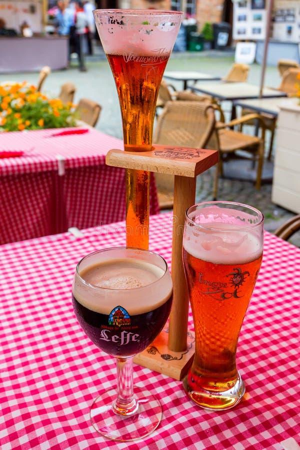 比利时,布鲁塞尔-大约2014年6月:不同的类佛兰芒啤酒 库存照片