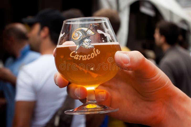 比利时,布鲁塞尔- 2014年9月07日:比利时啤酒周末2014年 免版税库存图片