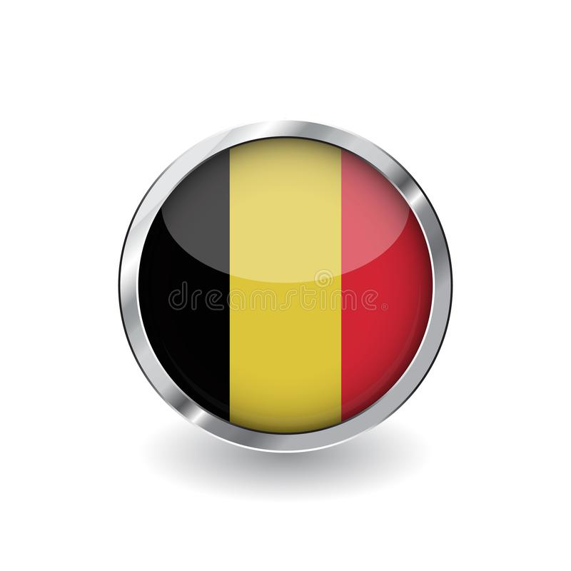 比利时,有金属框架和阴影的按钮的旗子 比利时旗子传染媒介象、徽章与光滑的作用和金属边界 Reali 向量例证