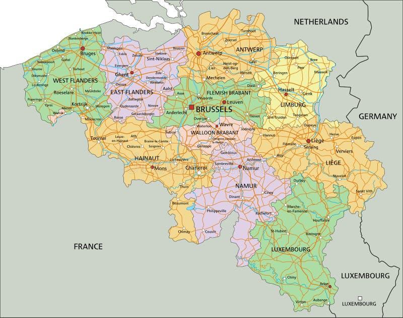 比利时-高度与标记的详细的编辑可能的政治地图 向量例证