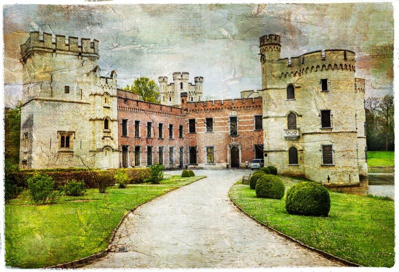 比利时- Bouchot中世纪城堡  库存图片