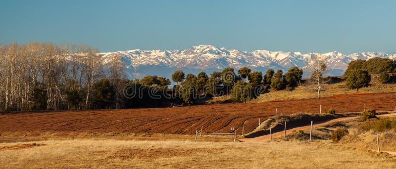 比利牛斯积雪的山南部的视图 免版税库存图片