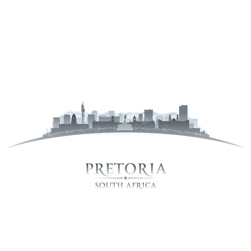 比勒陀利亚南非市地平线剪影白色背景 向量例证