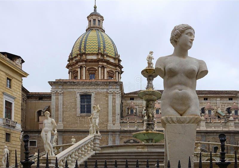 比勒陀利亚fontain,巴勒莫 免版税库存图片