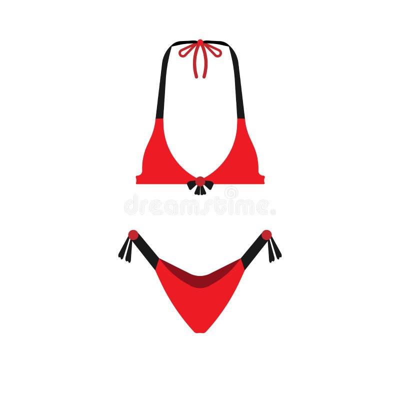比基尼泳装游泳衣红色传染媒介象妇女海滩衣裳 时尚女性身体泳装性感的胸罩 内衣夏天上面 皇族释放例证