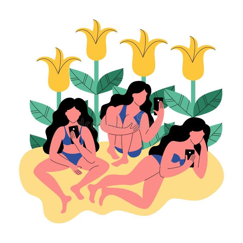 比基尼泳装的三名妇女在花背景使用智能手机的 也corel凹道例证向量 库存例证