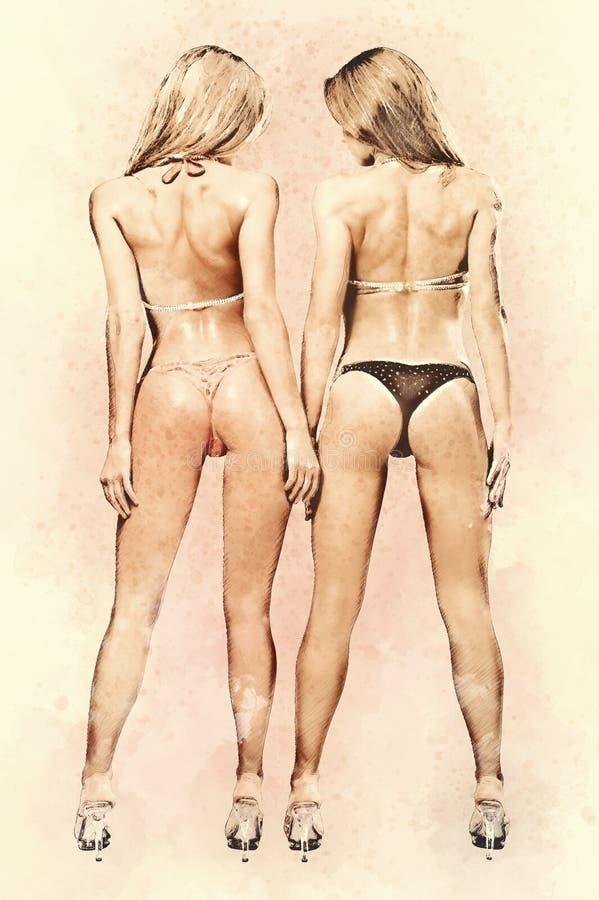 比基尼泳装的两个运动女孩 免版税库存图片
