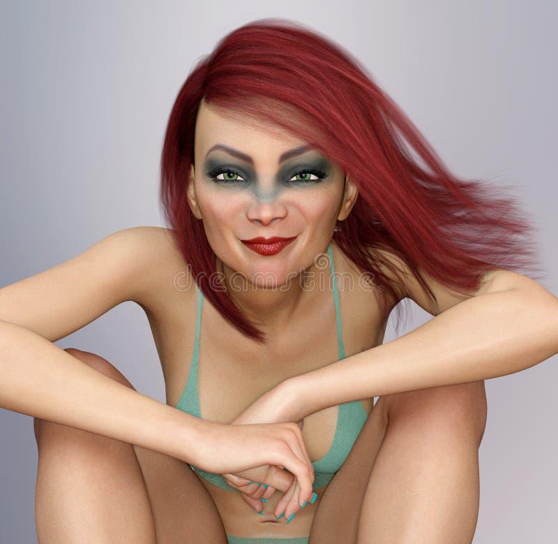 比基尼泳装的妇女有吹红色头发开会和微笑的 向量例证