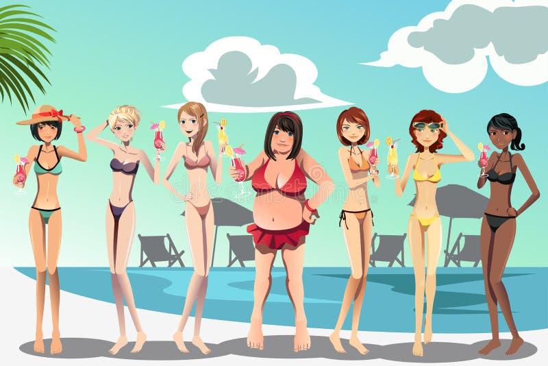比基尼泳装的妇女 向量例证
