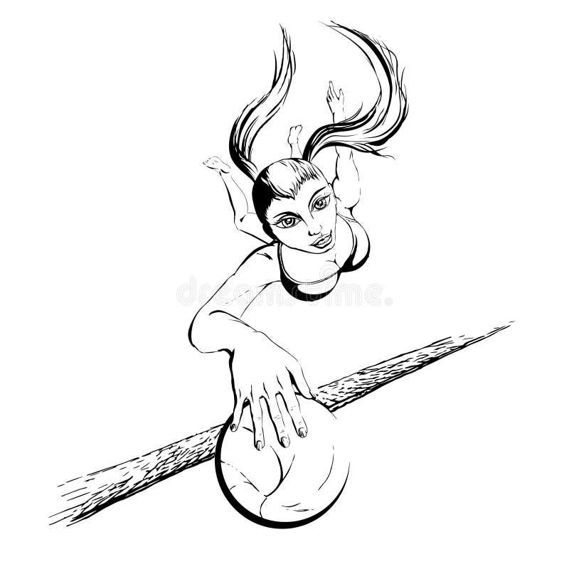 比基尼泳装的年轻美丽的女孩有演奏海滩的长的头发的volleybal 皇族释放例证