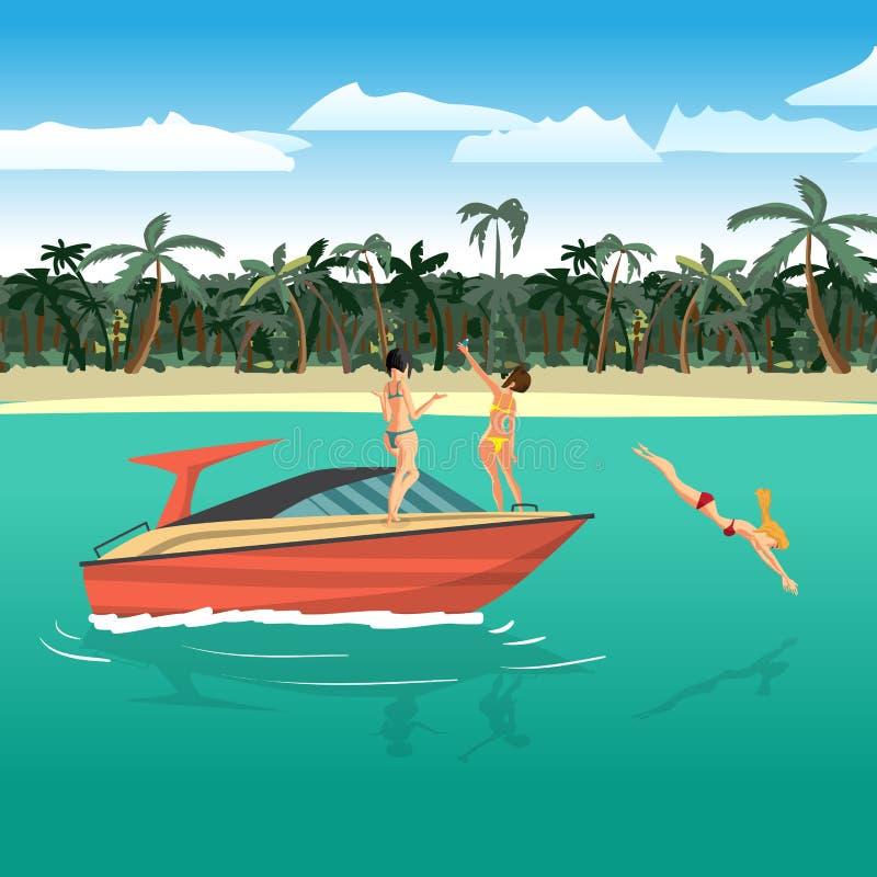 比基尼泳装骑马的妇女在一个热带海滩附近的一艘汽艇 库存例证