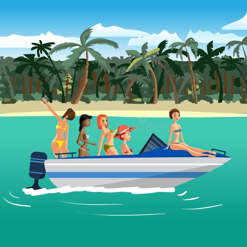 比基尼泳装骑马的妇女在一个热带海滩附近的一艘汽艇 皇族释放例证