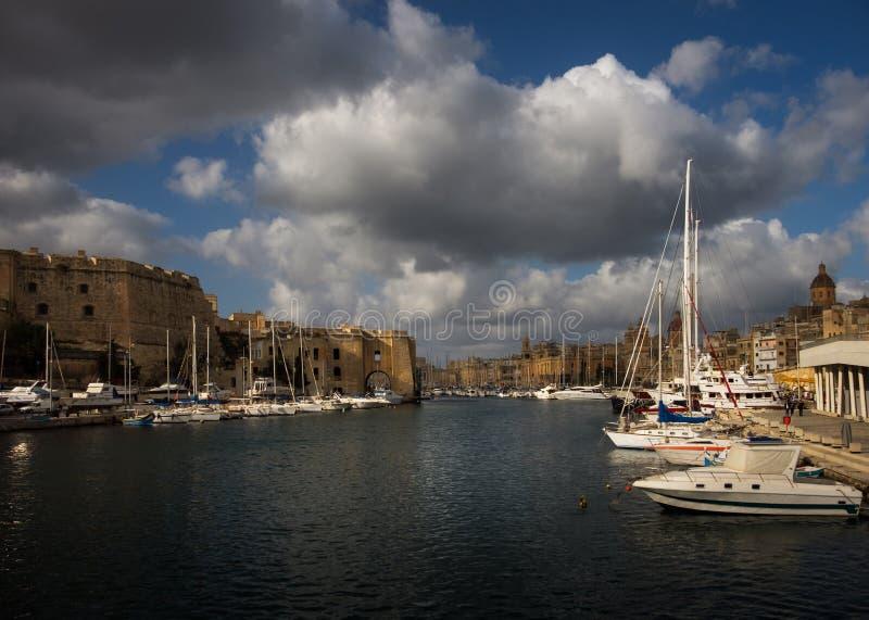 比尔古 Kalkara Bormla 小船停泊 瓦莱塔 马耳他 免版税图库摄影