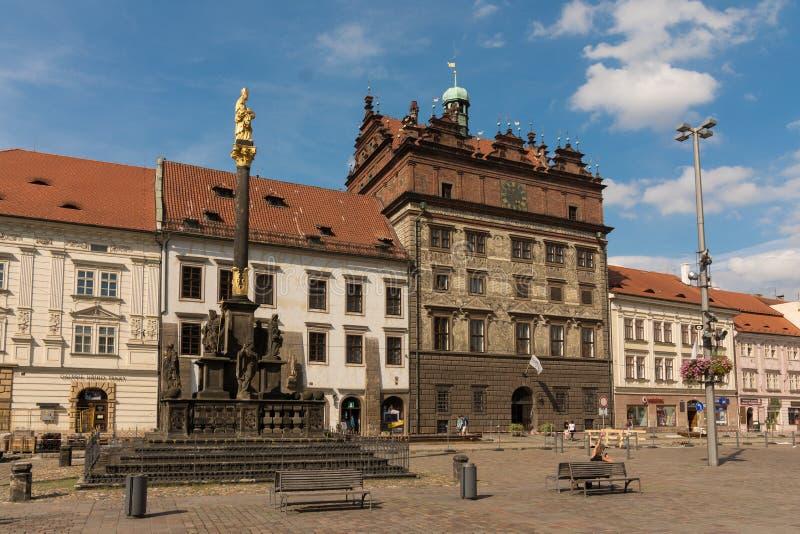 比尔森,捷克共和国历史的Townhall  图库摄影