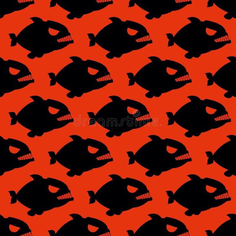 从比拉鱼的积极的无缝的样式 鱼剪影与 库存例证