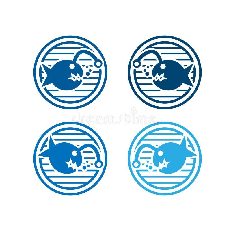 比拉鱼象的汇集 平的商标设计 库存例证