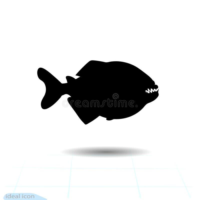 比拉鱼, pacu鱼象例证 在白色背景的标志积极的孤立 海报的单色设计元素, 向量例证