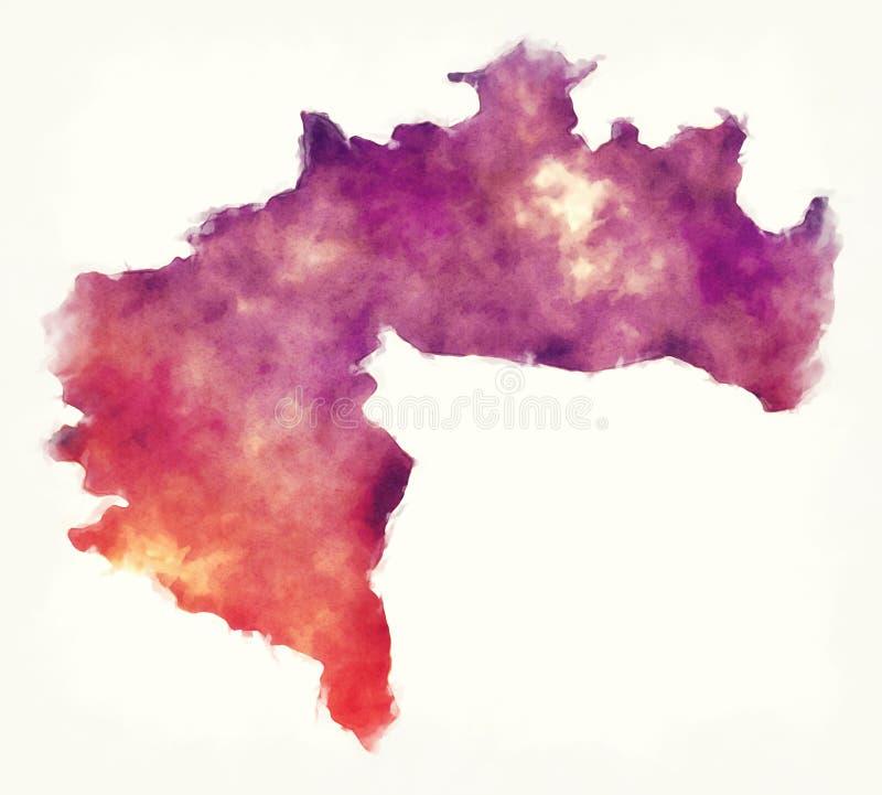 比斯克拉水彩阿尔及利亚的省地图 皇族释放例证