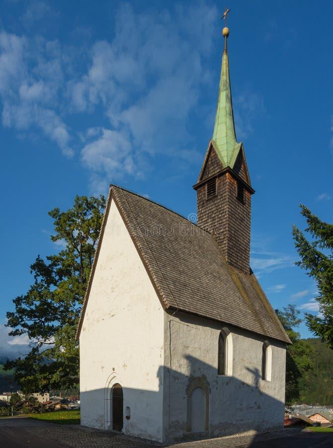 比绍夫斯霍芬, Pongau, Salzburger土地,奥地利,典型的奥地利小教会 库存图片