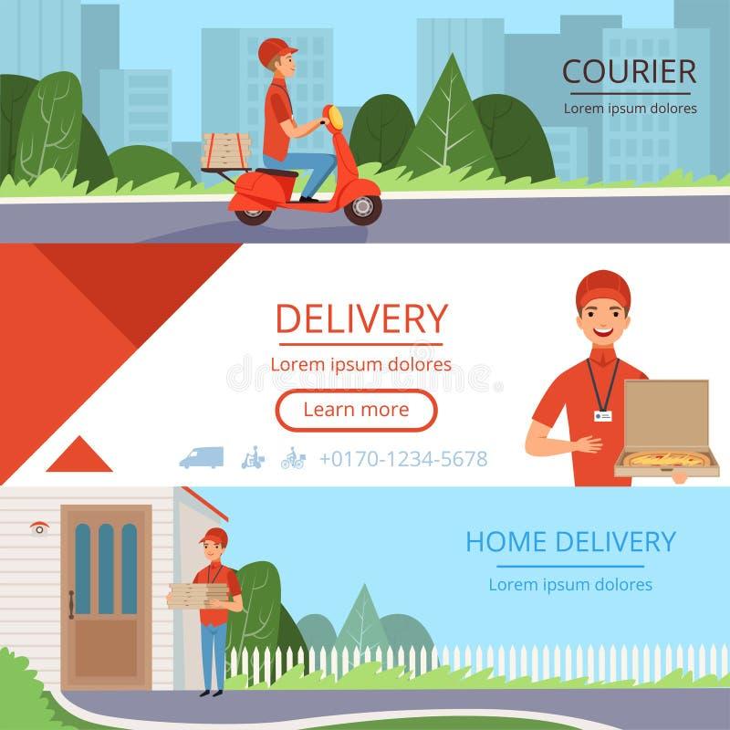 比萨交付横幅 便当传讯者命令运动的邮件运输货柜产业水平的传染媒介图片为 向量例证