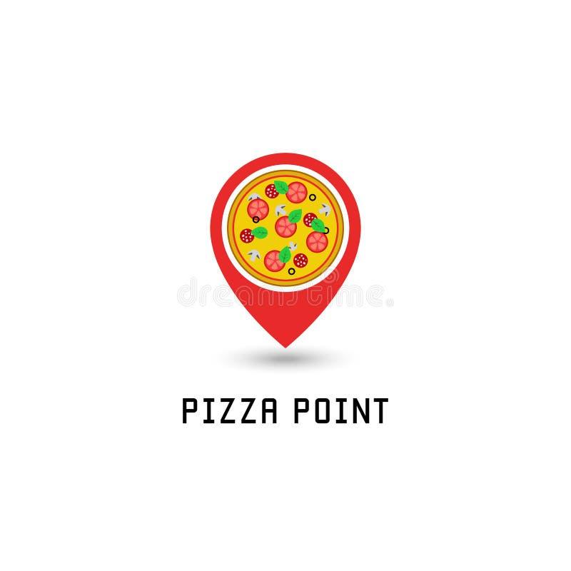 比萨商标尖别针地点比萨店快餐点 意大利鲜美圆的比萨用蒜味咸腊肠,蕃茄,蘑菇,乳酪,蓬蒿 库存例证