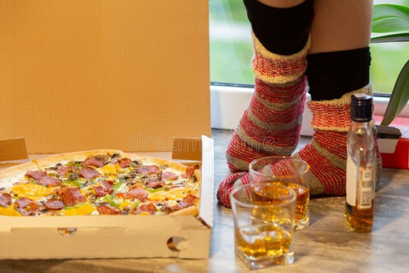 比萨威士忌酒袜子 免版税库存照片
