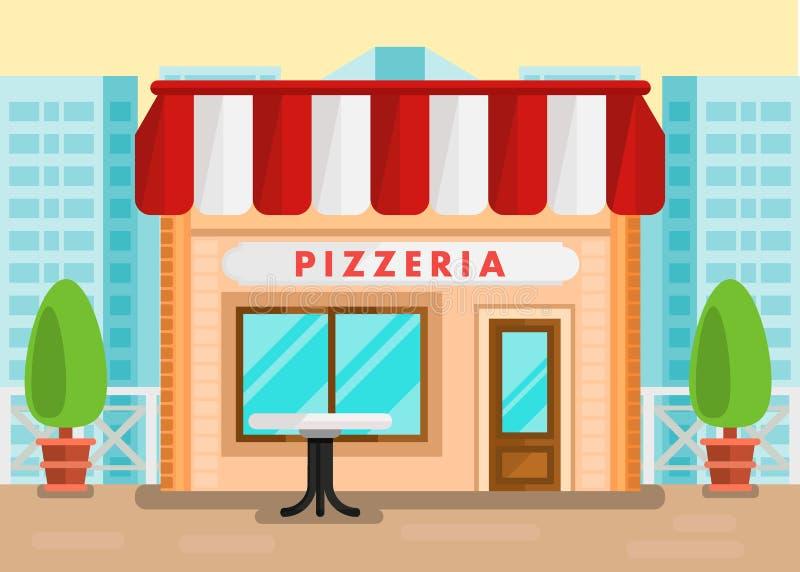 比萨店室外安装的动画片例证 向量例证
