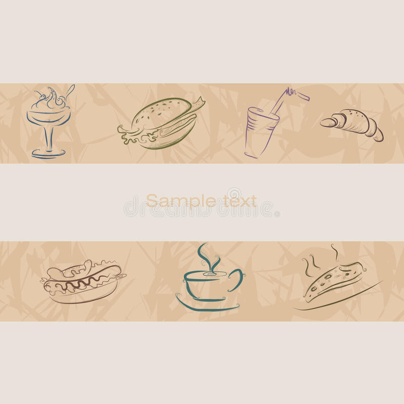比萨店的象 有样式的无缝的传送带 咖啡 向量例证