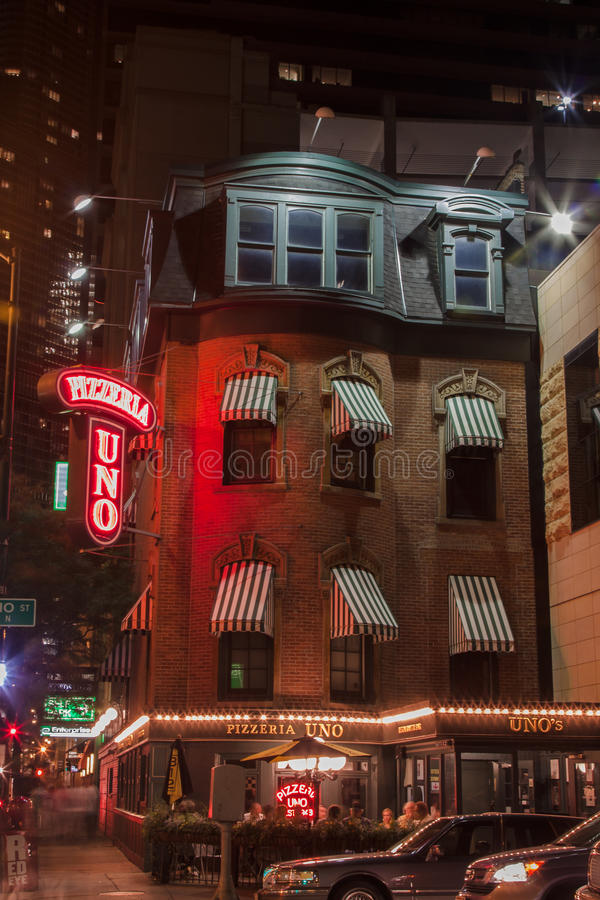 比萨店Uno芝加哥 免版税库存照片