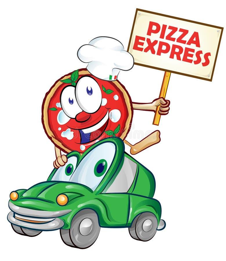 比萨快递汽车动画片 向量例证