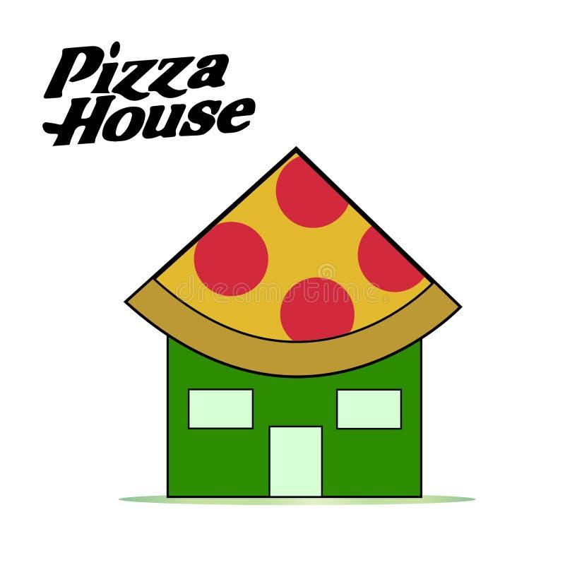 比萨房子食物交付商标 皇族释放例证