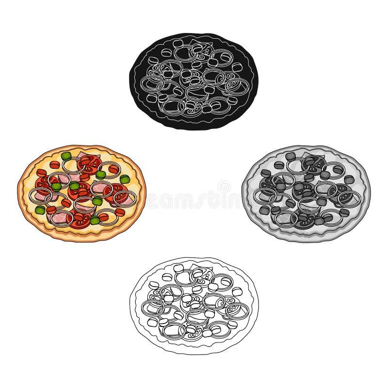 比萨用肉、乳酪和其他装填 另外在动画片,黑样式传染媒介标志股票的比萨唯一象 皇族释放例证