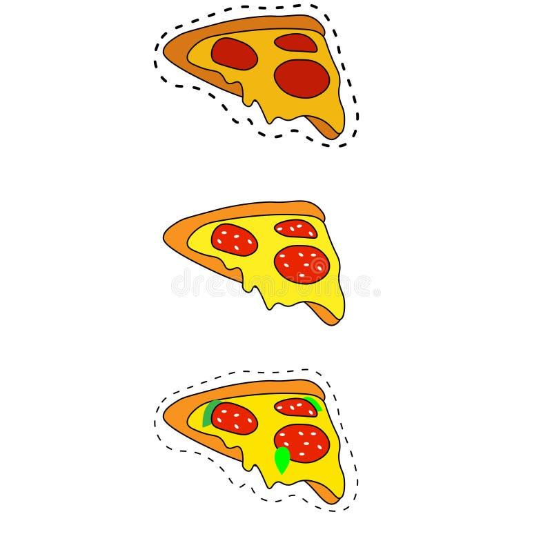 ? 比萨详细的平的样式网象 食物汇集 向量例证