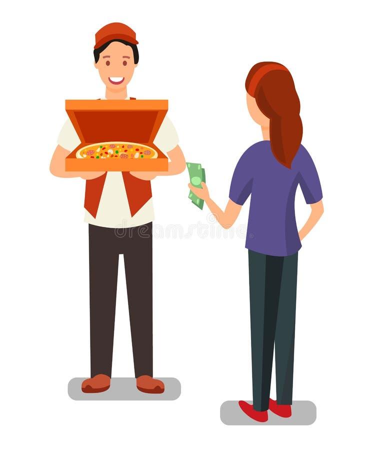 比萨送货人和顾客平的字符 向量例证