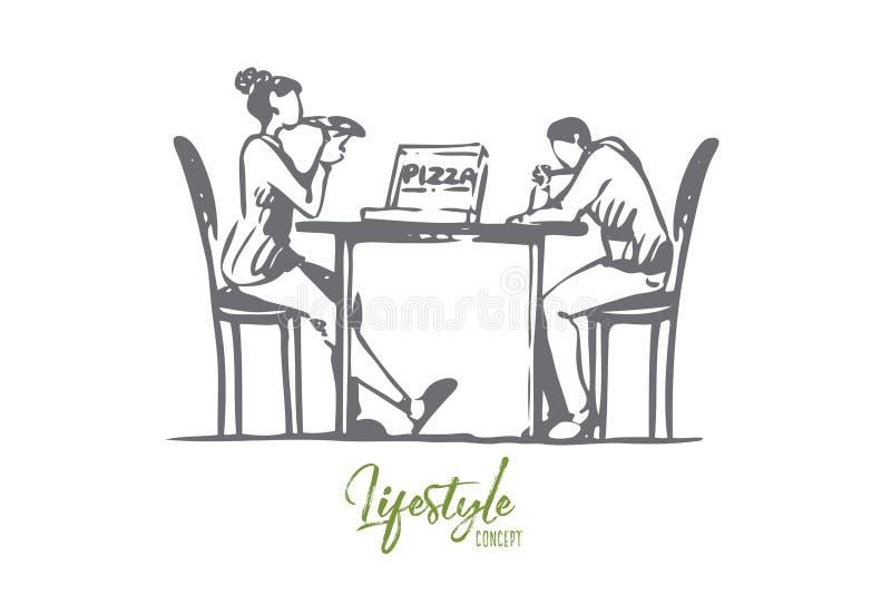 比萨,咖啡馆,夫妇,桌,约会概念 r 向量例证