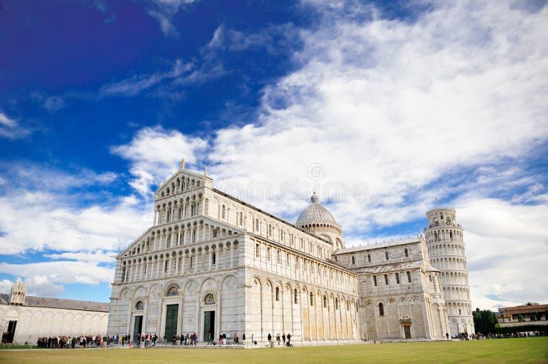 比萨,意大利斜塔和大教堂  图库摄影