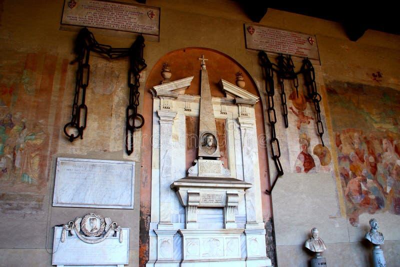 比萨,意大利-大约2018年2月:比萨中世纪港口的链子在奇迹正方形的巨大的公墓  免版税图库摄影