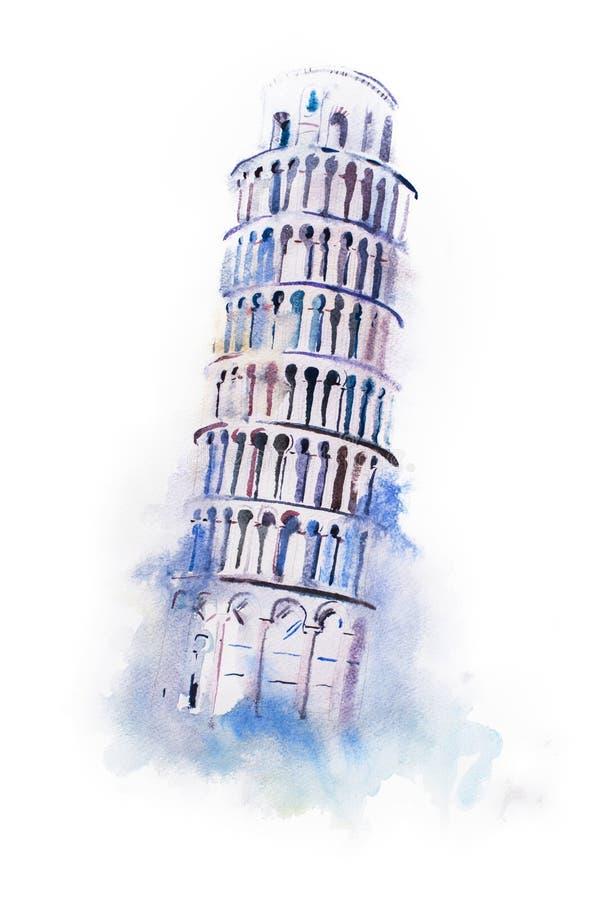 比萨水彩图画斜塔  水彩画世界奇迹绘画 免版税图库摄影