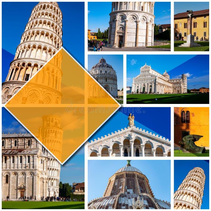 比萨-意大利的拼贴画照片,以1:1格式 斜塔在奇迹广场 联合国科教文组织举世闻名的站点,被找出 免版税库存图片
