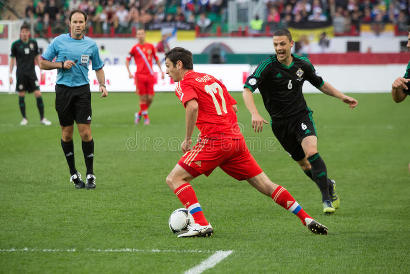 比赛俄国队的阿伦・迪沙哥耶夫反对北爱尔兰 免版税库存图片