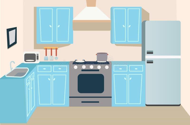 比赛和动画片厨房背景 皇族释放例证