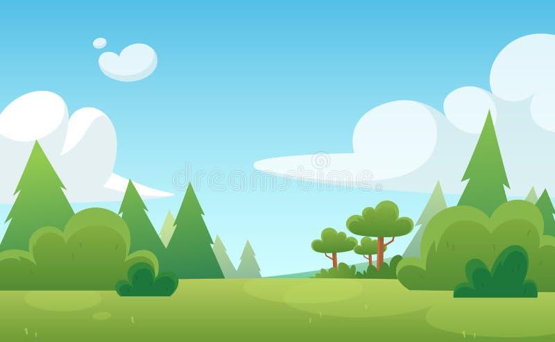 比赛和动画的动画片背景 有天空蔚蓝和云彩的绿色森林 ?? 库存例证