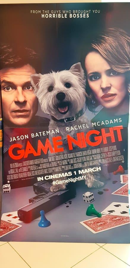 比赛夜电影海报 库存照片