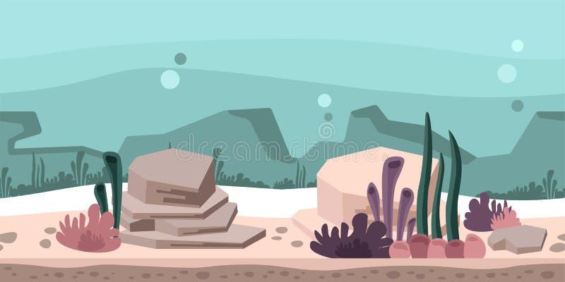 比赛或动画的无缝的无止境的背景 与岩石、海草和珊瑚的水下的世界 也corel凹道例证向量 皇族释放例证